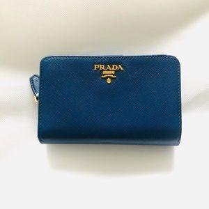 Prada blue saffiano wallet